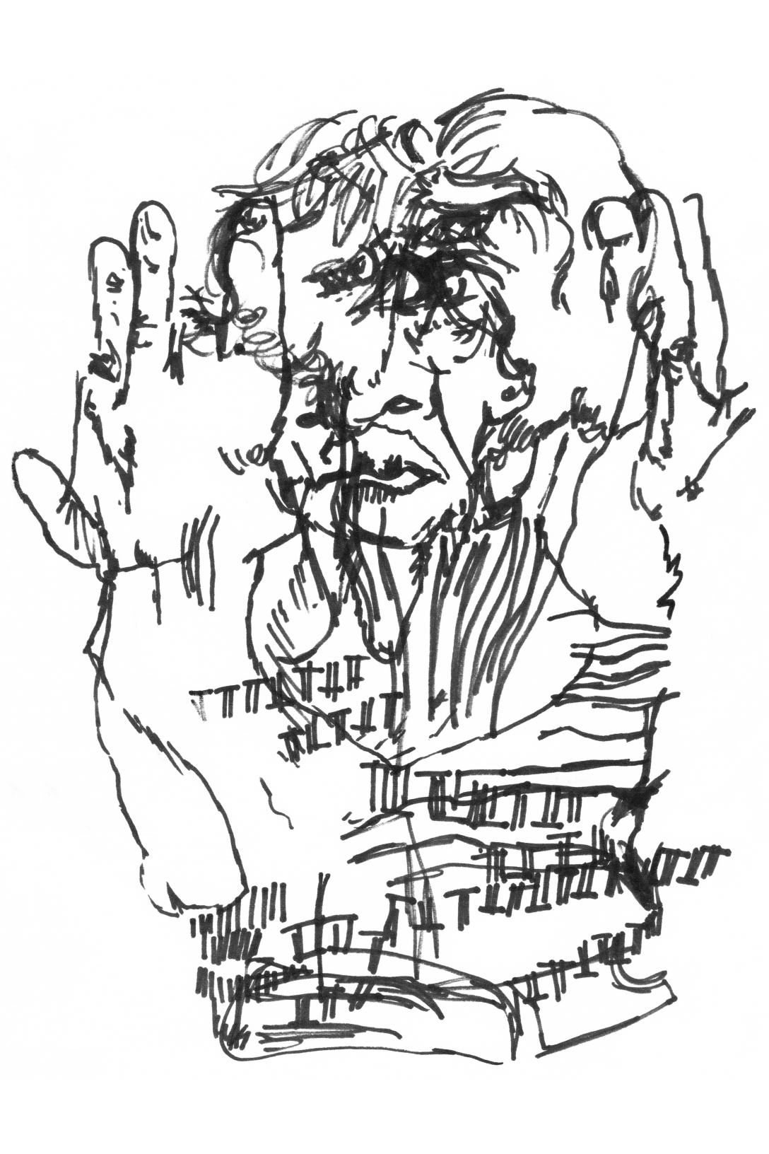 blind-contour-woman-with-hands-up-working